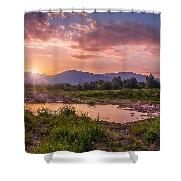 Sunrise Over The Little Beskids Shower Curtain