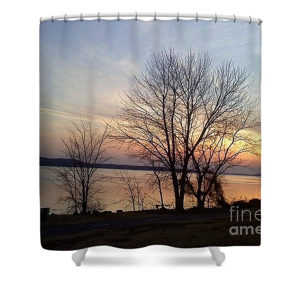 Sunset Over The Potomac Shower Curtain