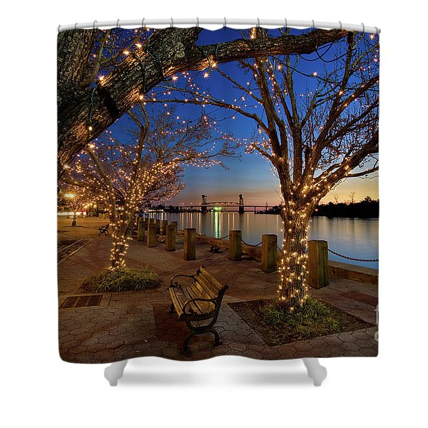 Sunset Over The Wilmington Waterfront In North Carolina, Usa Shower Curtain