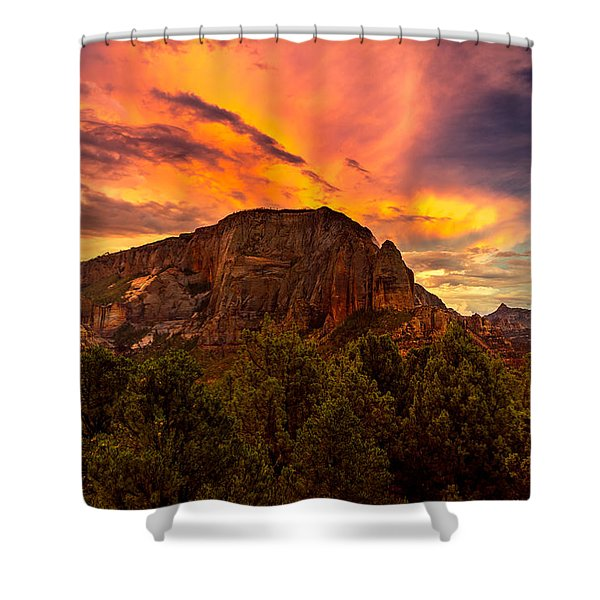 Sunset Over Timber Top Mountain Shower Curtain