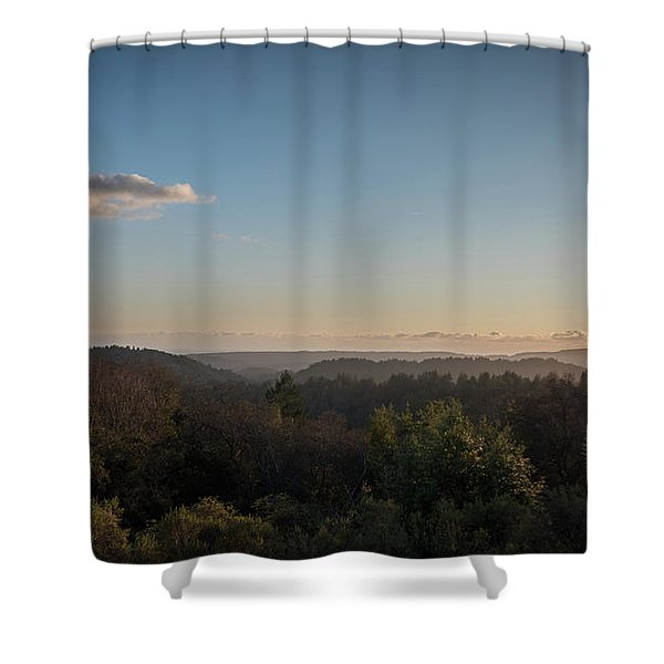 Sunset Over Top Of Dense Forest Shower Curtain