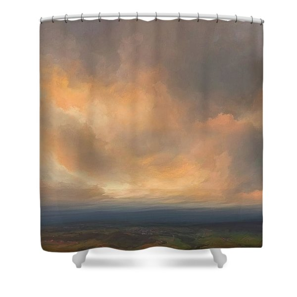 Sunset Over Valley Shower Curtain