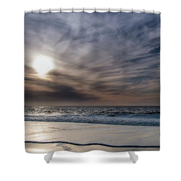 Sunset Over West Coast Beach With Silk Clouds In The Sky Shower Curtain