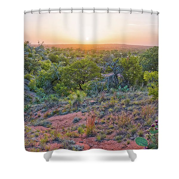 Sunset Panorama At Enchanted Rock State Natural Area - Fredericksburg Texas Hill Country Shower Curtain