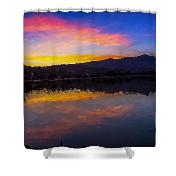 Sunset Panorama Of Mt. Tam And Richardson Bay Shower Curtain