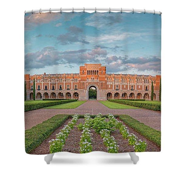 Sunset Panorama Of Rice University Quad - Lovett Hall - Museum District Houston Texas Shower Curtain