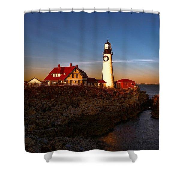 Sunset Rays At Portland Headlight Shower Curtain