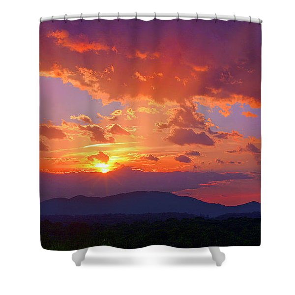 Sunset Rays At Smith Mountain Lake Shower Curtain