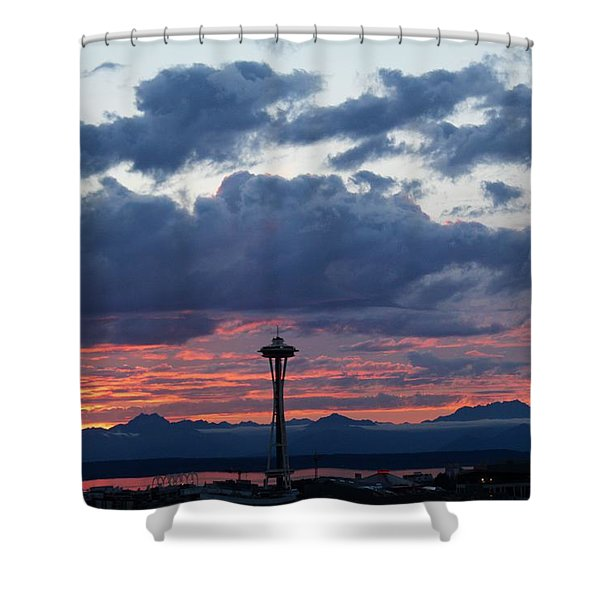 Sunset Red Clouds And Space Needle Shower Curtain