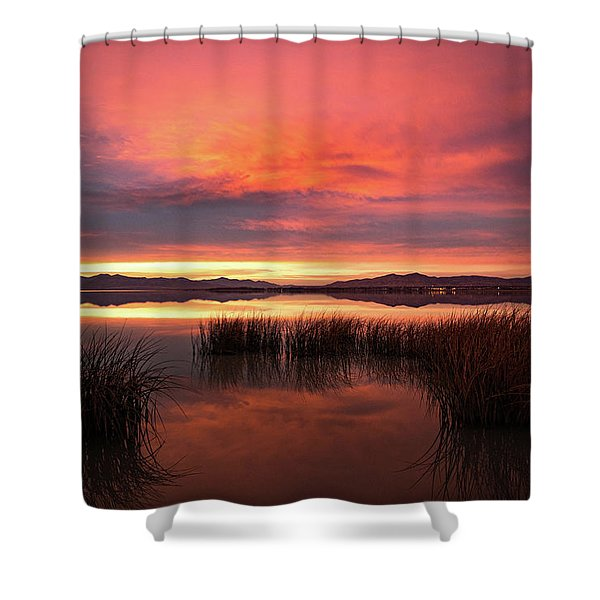 Sunset Reeds On Utah Lake Shower Curtain