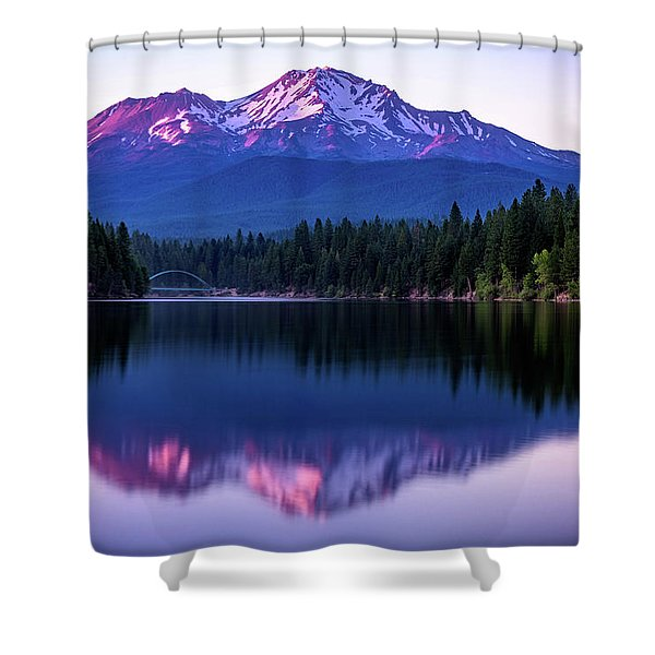 Sunset Reflection On Lake Siskiyou Of Mount Shasta Shower Curtain