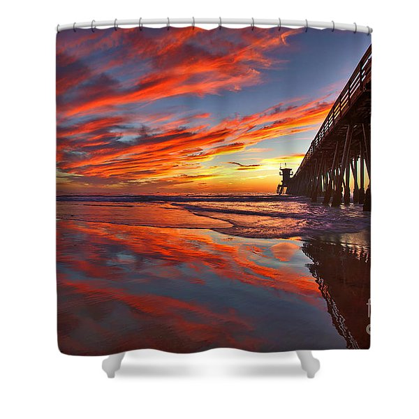 Sunset Reflections At The Imperial Beach Pier Shower Curtain
