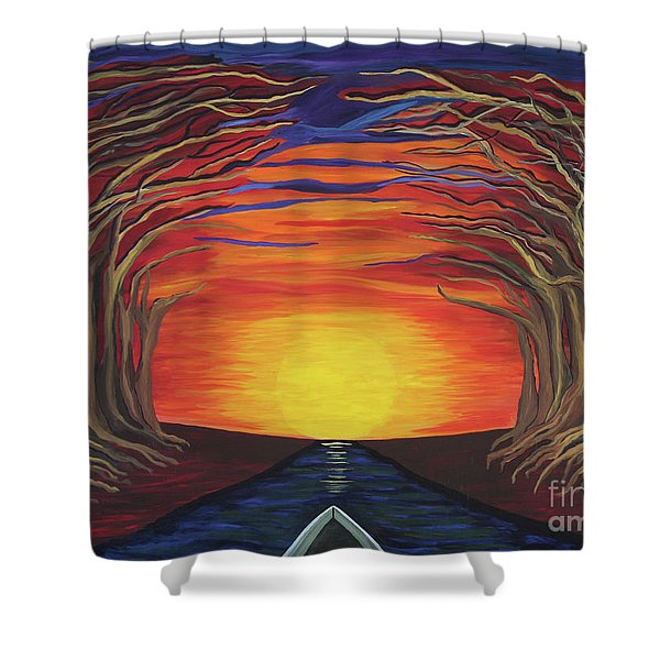 Treetop Sunset River Sail Shower Curtain