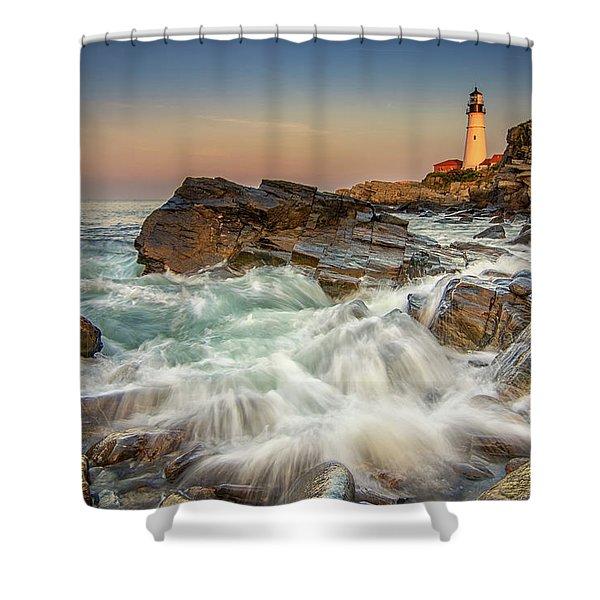 Sunset Sail At Portland Head Light Shower Curtain