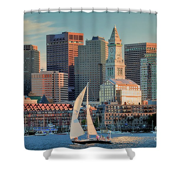 Sunset Sails On Boston Harbor Shower Curtain