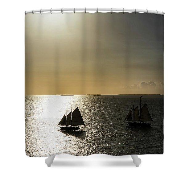 Sunset Schooners Shower Curtain