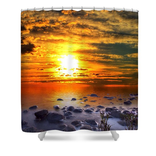 Shower Curtain featuring the painting Sunset Shoreline by Mark Taylor