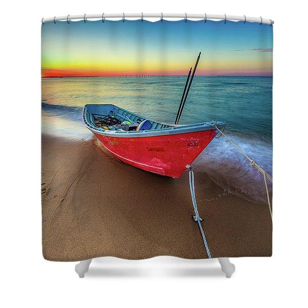 Sunset Skiff Shower Curtain