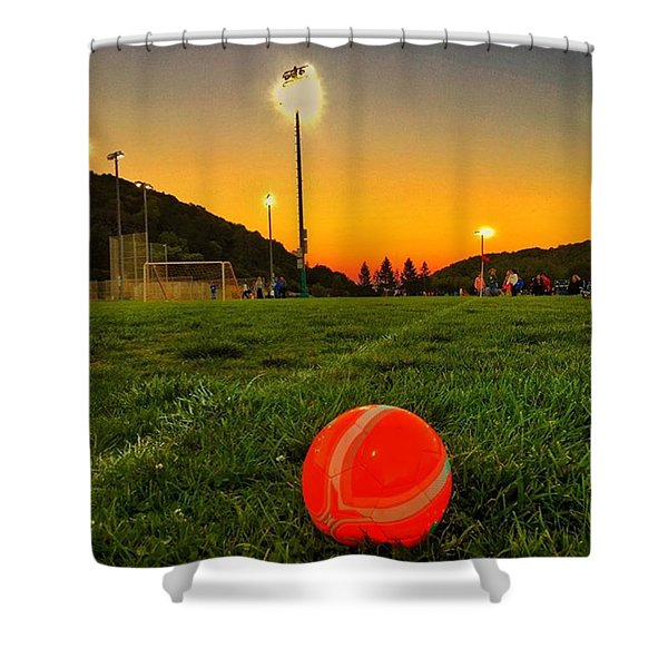 Sunset Soccer Game Shower Curtain