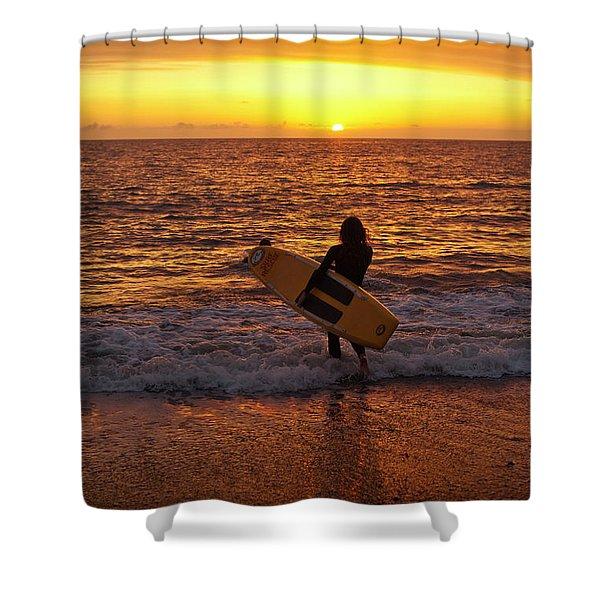 Sunset Surfer On Aberystwyth Beach Wales Uk Shower Curtain