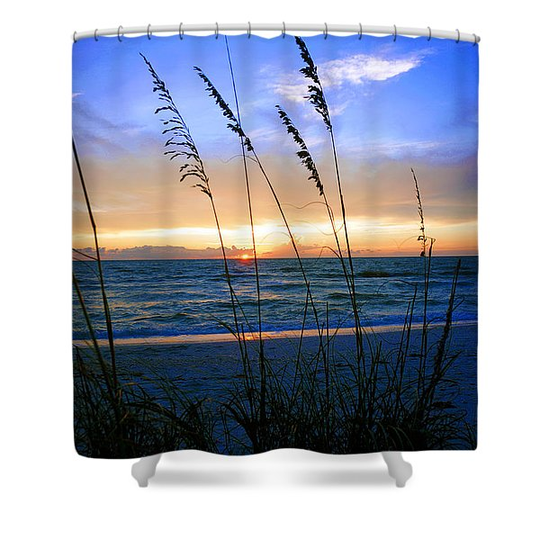 Sunset Thru The Sea Oats At Delnor Wiggins Shower Curtain