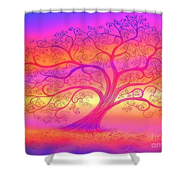 Sunset Tree Cats Shower Curtain