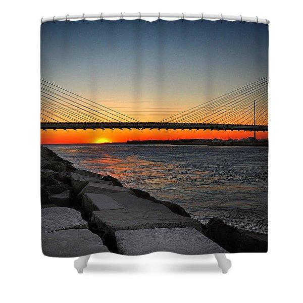 Sunset Under The Indian River Inlet Bridge Shower Curtain