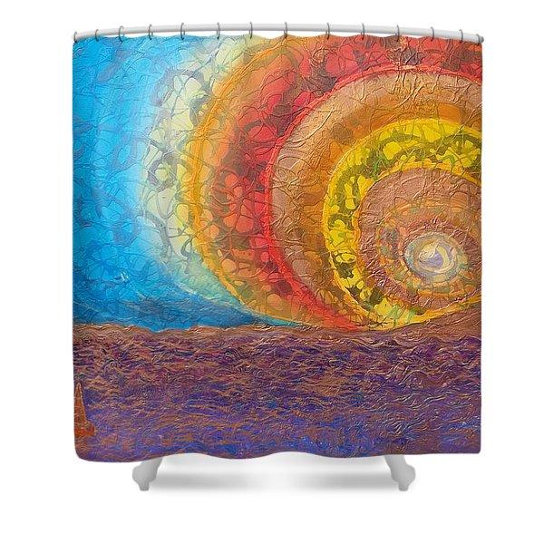 Sunset Unfurls Over Purple Sea Shower Curtain