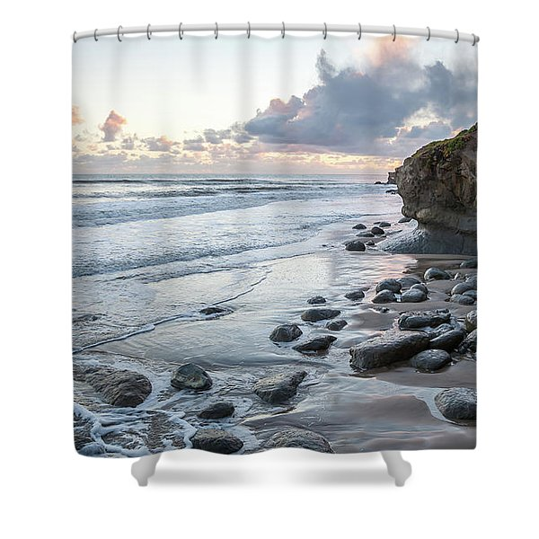 Sunset View In The Distance With Large Rocks On The Beach Shower Curtain