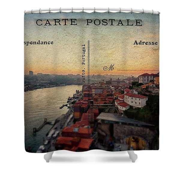sunset view of the Douro river and old part of  Porto, Portugal Shower Curtain