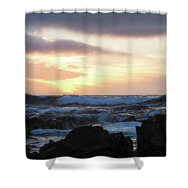 Sunset Waves, Asilomar Beach, Pacific Grove, California #30431 Shower Curtain