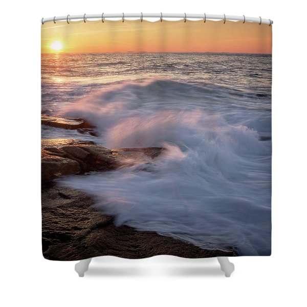 Sunset Waves Rockport Ma. Shower Curtain