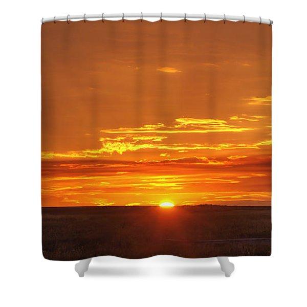 Sunset Windmill 02 Shower Curtain