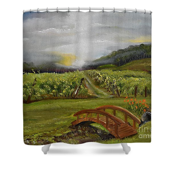 Sunshine Bridge At The Cartecay Vineyard - Ellijay Ga - Vintner's Choice Shower Curtain