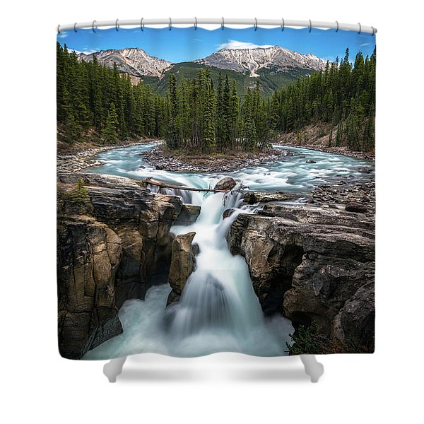 Sunwapta Falls In Jasper National Park Shower Curtain