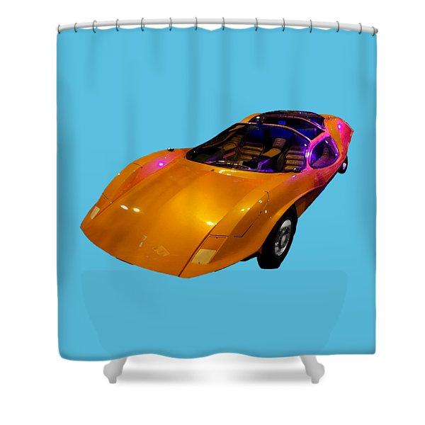 Super Car Orange Art Shower Curtain