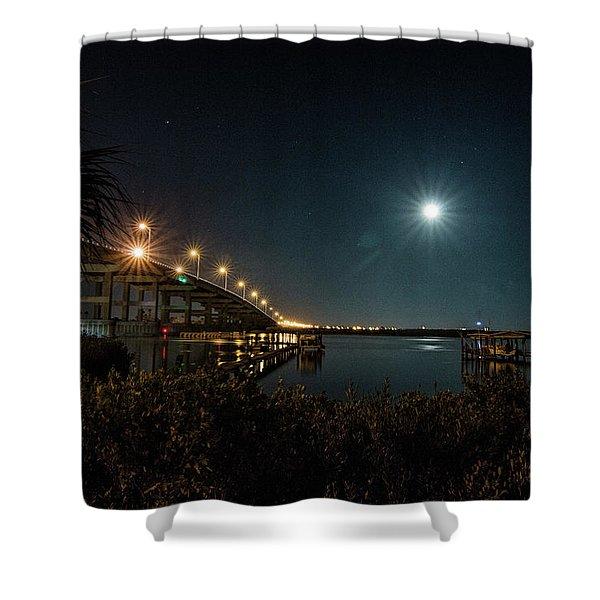 Super Moon And Bridge Lights Shower Curtain