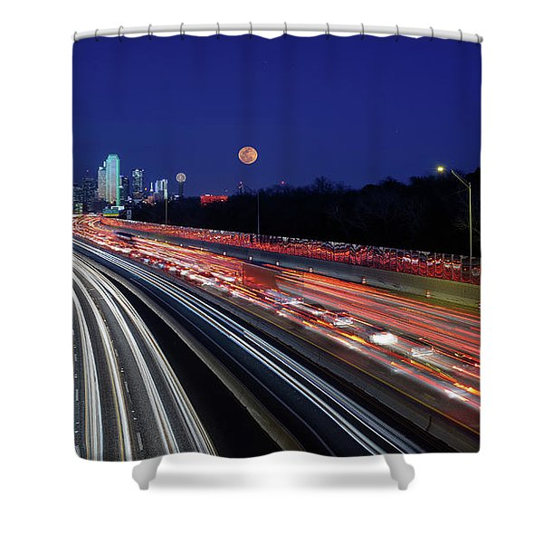 Super Moon And Dallas Texas Skyline Shower Curtain