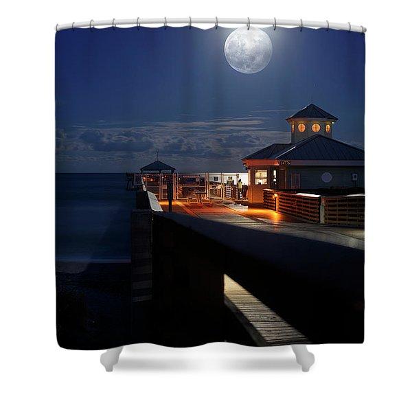 Super Moon At Juno Pier Shower Curtain