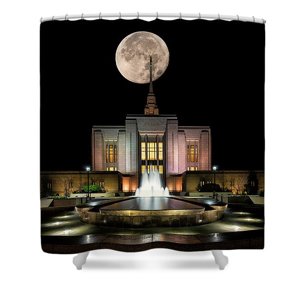Super Moon At Ogden Lds Temple Shower Curtain