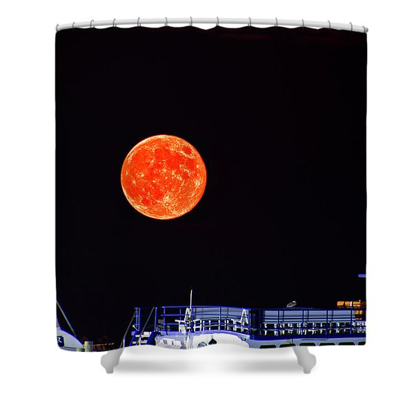 Super Moon Over Crazy Sister Marina Shower Curtain