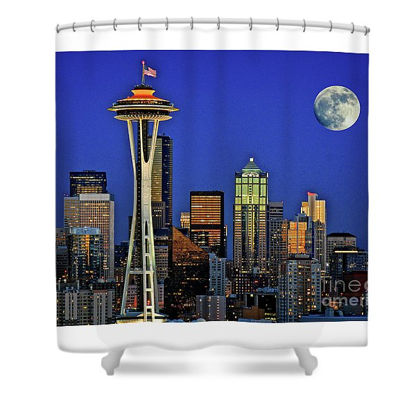 Super Moon Over Seattle Shower Curtain