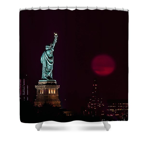 Super Moon Rising And The Statue Of Liberty Shower Curtain