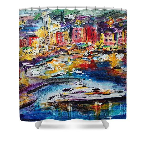 Evening In Portofino Italy Super Yacht Travel Shower Curtain