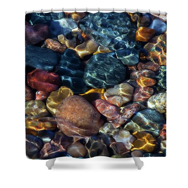 Shower Curtain featuring the photograph Superior Rocks 1 by Heather Kenward