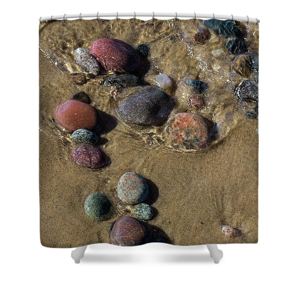 Shower Curtain featuring the photograph Superior Rocks 2 by Heather Kenward