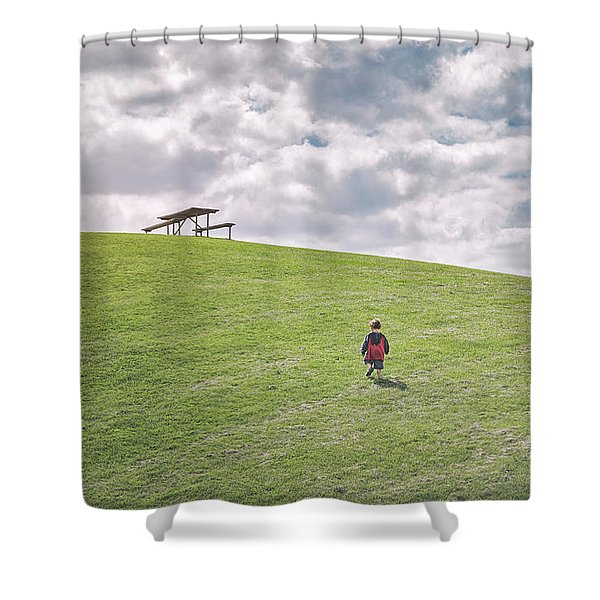Superman And The Big Hill Shower Curtain
