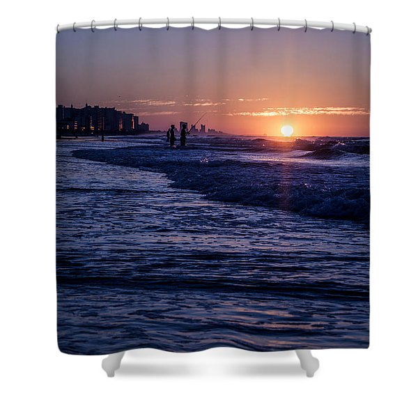 Surf Fishing At Sunrise Shower Curtain