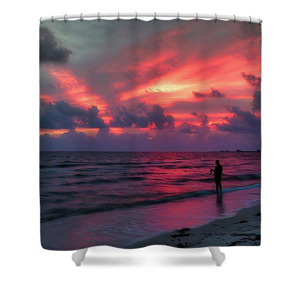 Surf Fishing At Sunset Shower Curtain