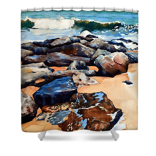 Surf On The Jetty Shower Curtain
